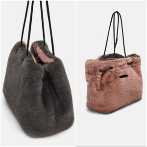 Zara faux fur reversible  bucket bag/ purse
